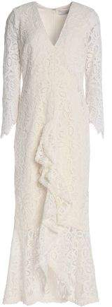 Alexis Nadege Ruffled Corded Lace Midi Dress