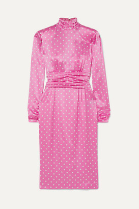 Alessandra Rich Gathered Polka-dot Silk-satin Midi Dress - Pink