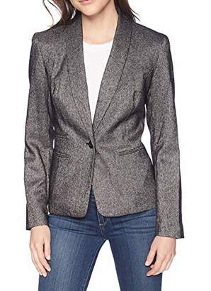 Nine West Women's 1 Button Shawl Collar Tweed Jacket