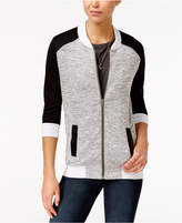 Miss Chievous Juniors' Knit Colorblocked Bomber Jacket