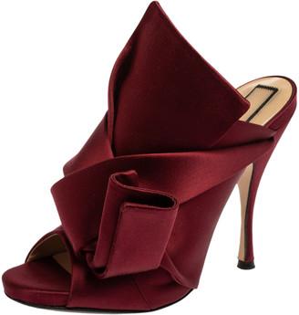 N°21 N21 Burgundy Satin Knot Open Toe Sandals Size 39