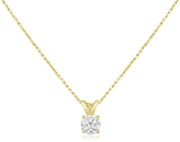Ice 1/3 CT TW Diamond 14K Gold Solitaire Pendant Necklace (JK/I2-I3)
