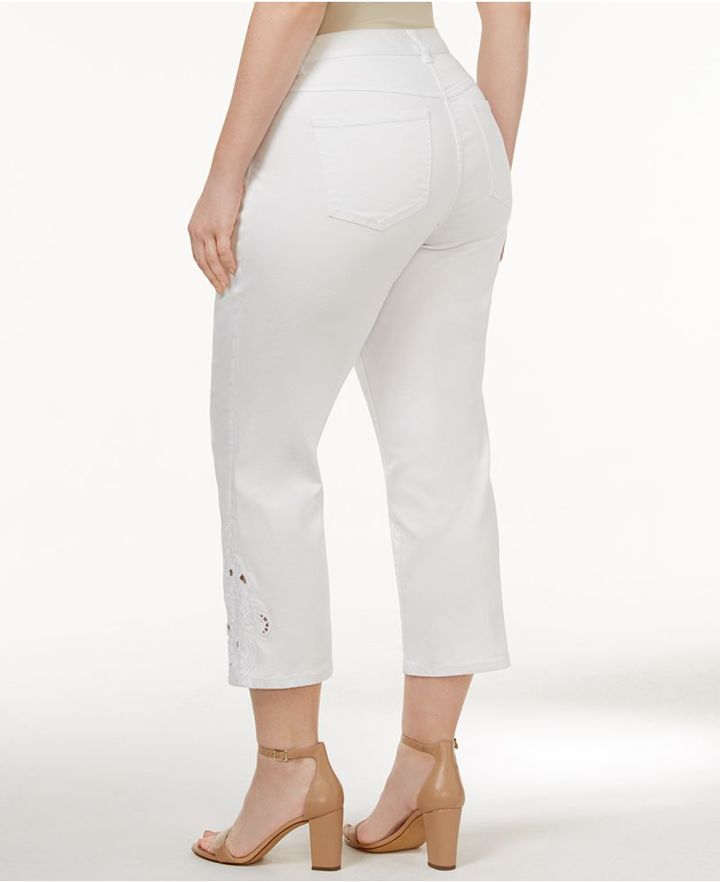 INC International Concepts Plus Size Crocheted Cropped Jeans, Created for Macy's