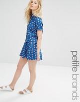 Noisy May Petite Watermelon Print Denim Skater Skirt