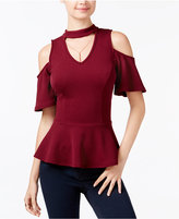 BCX Juniors' Cold-Shoulder Choker Top