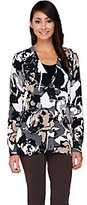 As Is Isaac Mizrahi Live! V-Neck Floral Print Cardigan