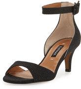 Kay Unger Sullia Leather Ankle-Wrap Sandal, Black