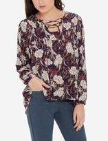 The Limited Printed Lace Up Peasant Blouse