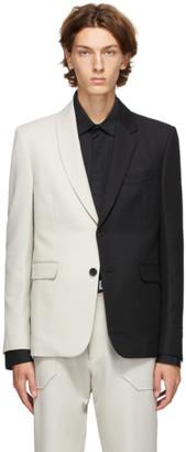 Fendi Black and Off-White Wool Bicolor Blazer