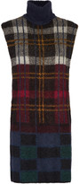 Suno Cutout plaid mohair-blend turtleneck sweater
