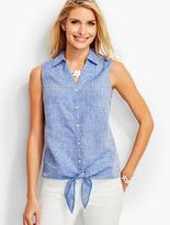 Talbots Tie-Front Linen Shirt-Clover Embroidered