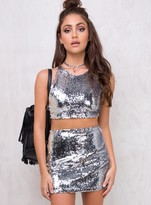 Motel Silver Sequin Cherry Tube Skirt