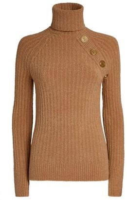 Balmain Button-Detail High-Neck Sweater