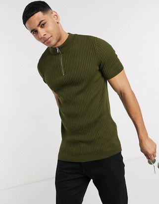 New Look shirt sleeve muscle fit rib t-shirt in khaki