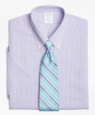 Brooks Brothers Regent Fitted Dress Shirt, Non-Iron Tonal Sidewheeler Check Short-Sleeve