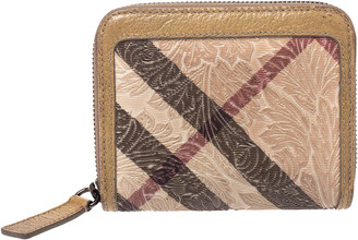 Burberry Beige Floral Embossed Nova Check PVC and Leather Zip Around Compact Wallet