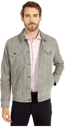 John Varvatos Steven Suede Trucker Jacket L1294W1B (Pebble Grey Heather) Men's Clothing