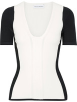Narciso Rodriguez Two-tone Stretch-knit Top - White