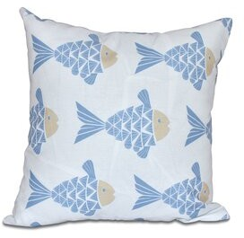 "Bay Isle Home Grand Ridge Fish Tales Coastal Outdoor Throw Pillow Bay Isle Home Size: 18"" H x 18"" W, Color: Teal"