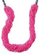 LOFT Long Stripe Ribbon Multi Strand Seed Bead Necklace