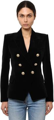 Balmain DOUBLE BREASTED COTTON VELVET BLAZER