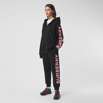 Burberry Logo Print Cotton Oversized Hooded Top