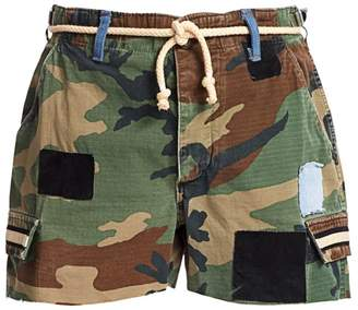 Riley Camo Cut-Off Belted Shorts