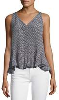 Rebecca Taylor Sleeveless Static Printed Silk Tank