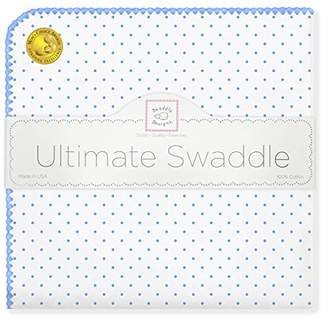 Swaddle Designs Ultimate Winter Swaddle, X-Large Receiving Blanket, Made in USA, Premium Cotton Flannel, Blue Classic Polka Dots (Mom's Choice Award Winner)