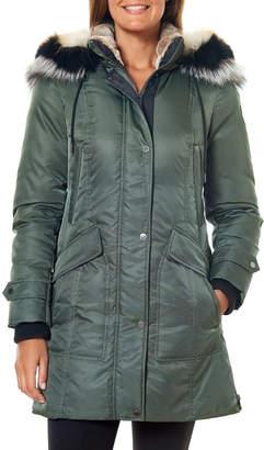 One Madison Heavy Tricolor Fox Fur-Trim Hooded Parka Coat