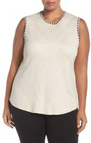 Nic+Zoe Plus Size Women's 'Double Stitch' Sleeveless Top