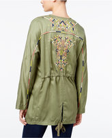 Jessica Simpson Finn Draped Embroidered-Back Jacket