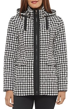 Kate Spade Hooded Houndstooth Printed Jacket