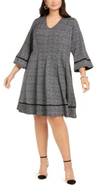 Robbie Bee Plus Size Tweed Fit & Flare Dress
