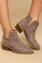 Qupid Sidra Taupe Suede Star Booties