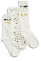 Kate Spade Women's I Do - Bride 3-Pack Crew Socks