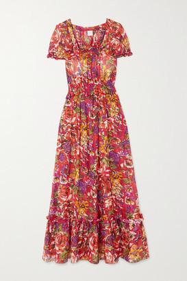 Loretta Caponi - Stefania Ruffled Tiered Floral-print Cotton-voile Dress - x small