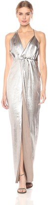 Halston Women's Halter Neck Asymmetrical Ruched Gown