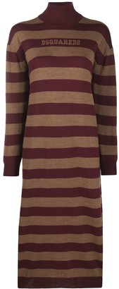 DSQUARED2 Striped Roll Neck Knitted Dress