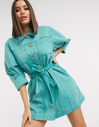 ASOS DESIGN denim shirt dress with puff sleeve in washed turquoise