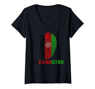 Womens AFGHANISTAN Finger Print Flag Tshirt I Love Travel Tee V-Neck T-Shirt