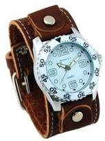 Nemesis #BSTHK097W Men's Premium Wide Leather Cuff Band Watch