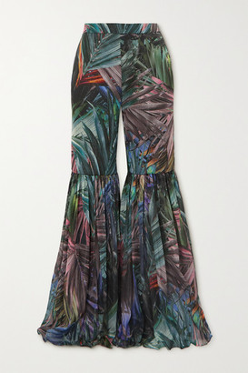 Halpern Pleated Metallic Printed Chiffon Flared Pants - Green