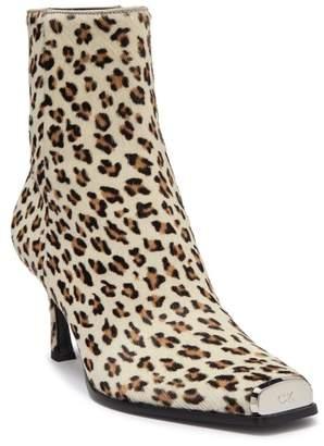 Calvin Klein Winsaz 57 Dyed Genuine Calf Hair Cheetah Print Ankle Boot