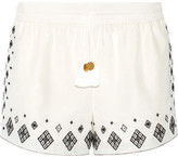 Rachel Zoe Embroidered Silk And Cotton-blend Shorts - Ivory