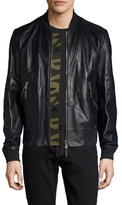 Christian Dior Leather Solid Bomber Jacket