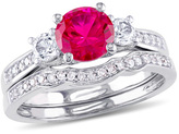 Zales 6.0mm Lab-Created Ruby and White Sapphire with 1/8 CT. T.W. Diamond Three Stone Bridal Set in 10K White Gold