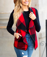 Buffalo David Bitton Aili's Corner Women's Sweater Vests red/black - Red & Black Check Open Vest - Women
