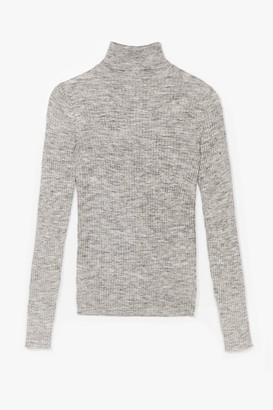 Nasty Gal Womens Had Knit Up to Here Ribbed Turtleneck Sweater - Grey