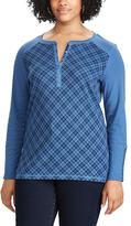 Chaps Plus Size Plaid Henley Long Sleeve Top